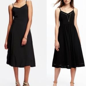 Black Fit and Flare Cami Midi Dress
